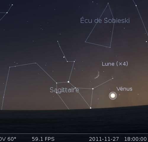 La Lune en rapprochement avec Vénus