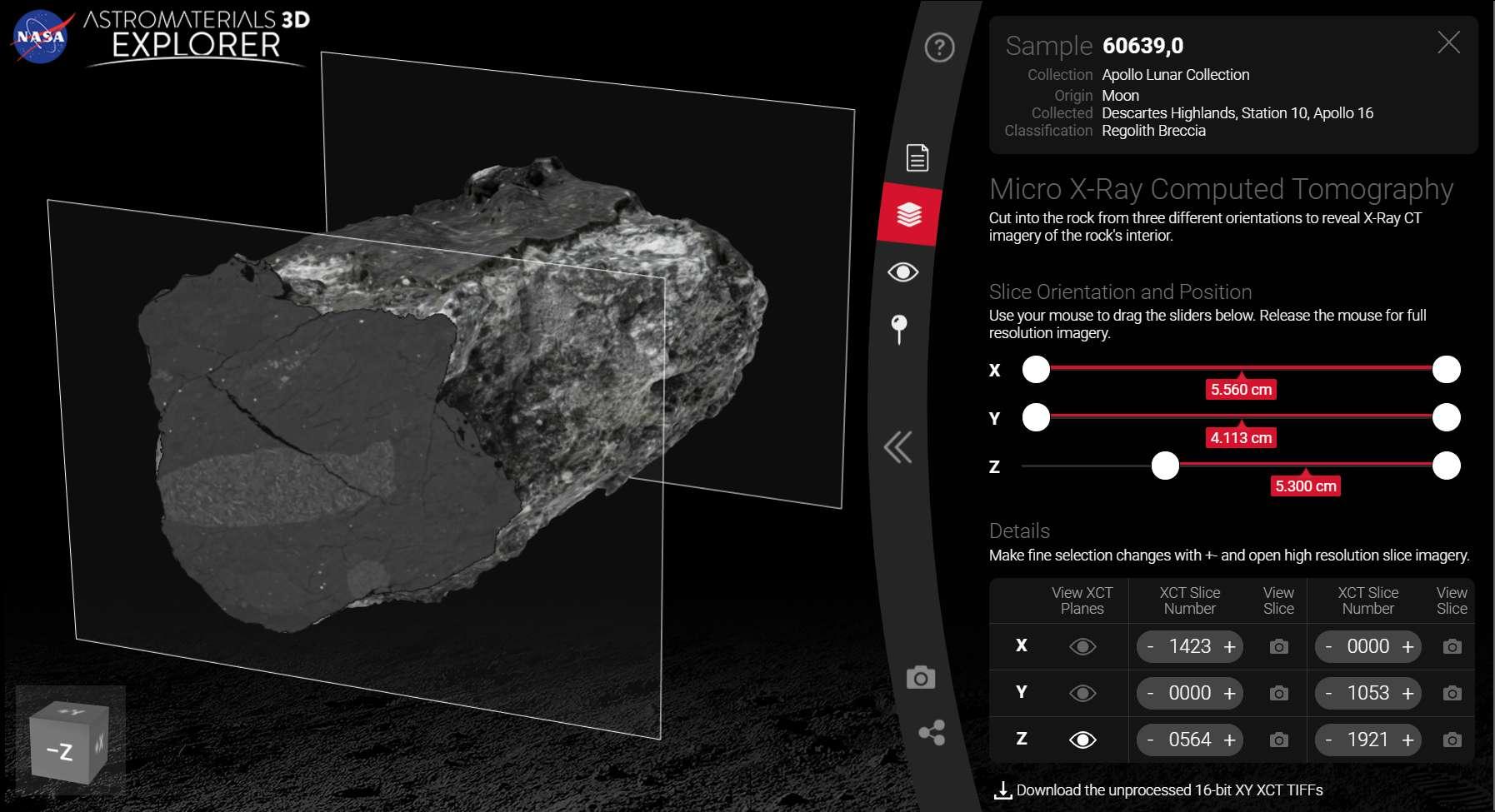 Les photographies extérieures et les scanners de l'intérieur de la roche ont été « fusionnés » pour créer un objet numérique unique. © Nasa