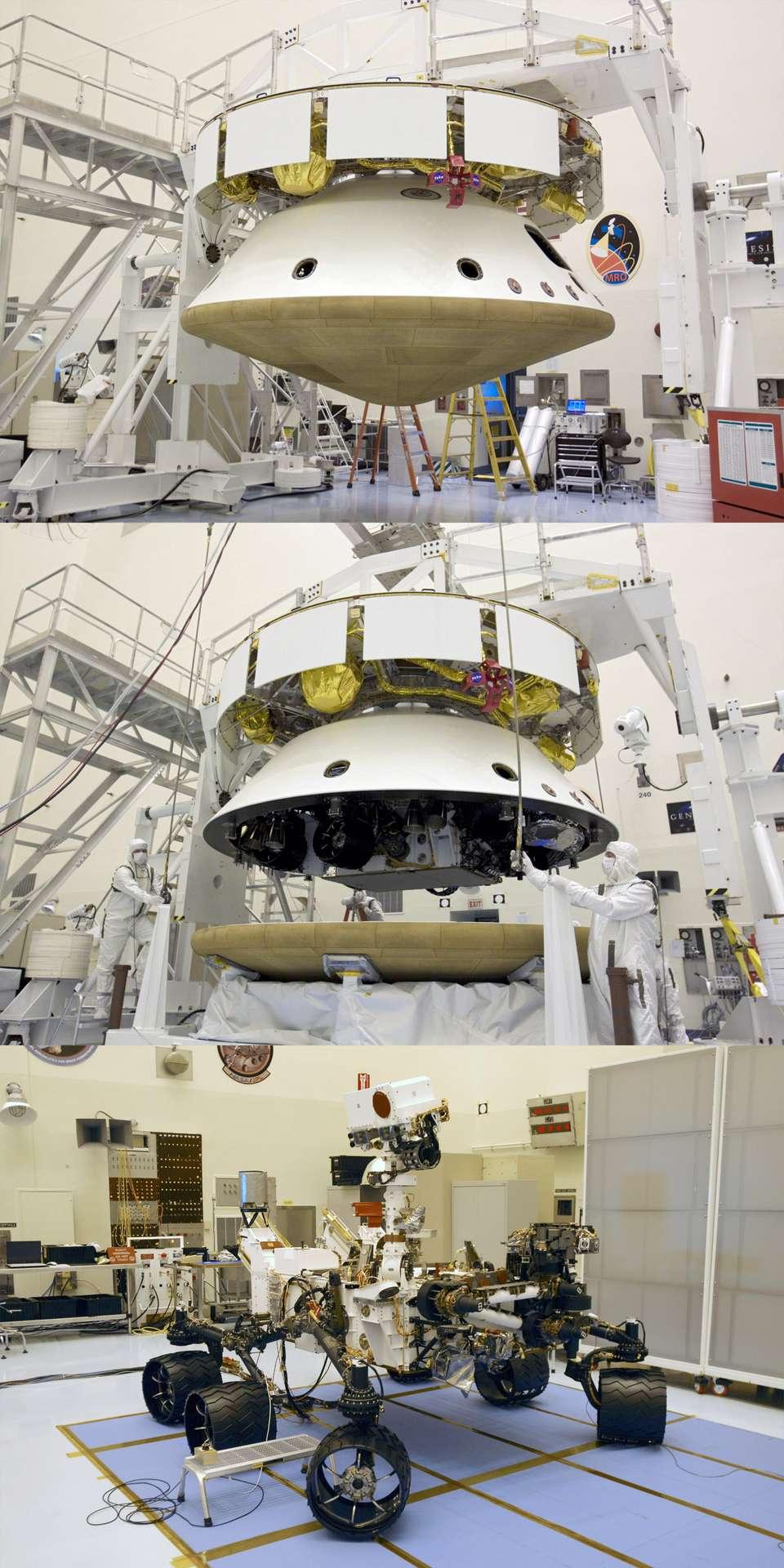 Avec un poids d'environ 900 kg, Curiosity est bien plus lourd que les 10,5 kg du Sojourner de Mars Pathfinder (1997) et les 170 kg de chaque rover des missions Mer (2004). Ce sera également la charge la plus lourde jamais posée sur Mars. © Nasa/Charisse Nahser & Glenn Benson