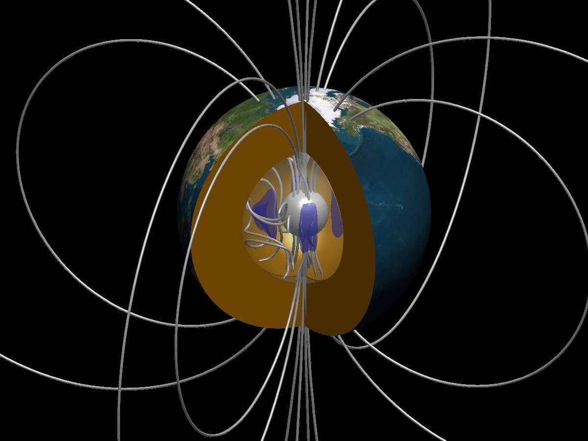Vue écorchée de l'intérieur de la Terre. Les mouvements de fluide conducteur (structures tourbillonnaires en bleu) étirent les lignes du champ magnétique, leur donnant de l'énergie. A noter la forme dipolaire des lignes de champ magnétique. Crédit : IPGP-Julien Aubert