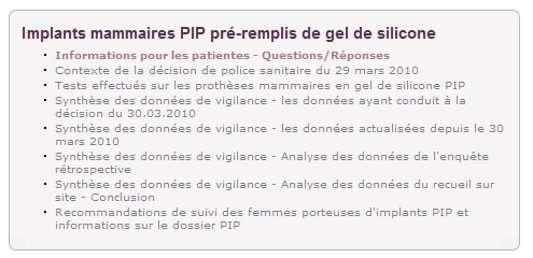 Sur son site Internet, l'Afssaps met à disposition des documents guides pour les femmes porteuses d'implants mammaires PIP. © Afssaps