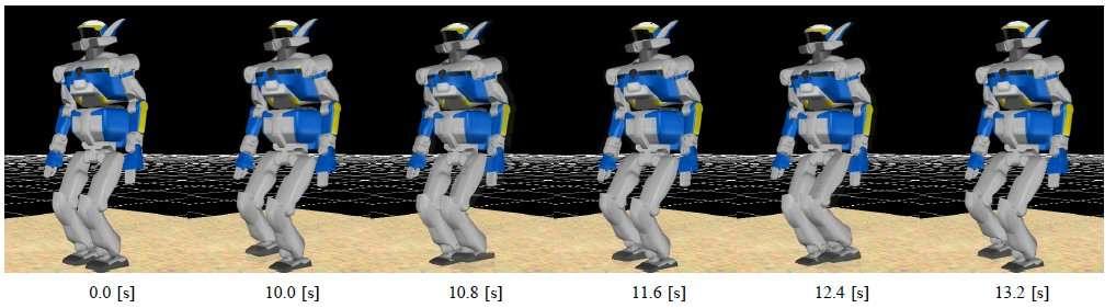 Simulation informatique de la marche du robot humanoïde dans le sable, au laboratoire de l'université de Tohoku. © Tohoku University