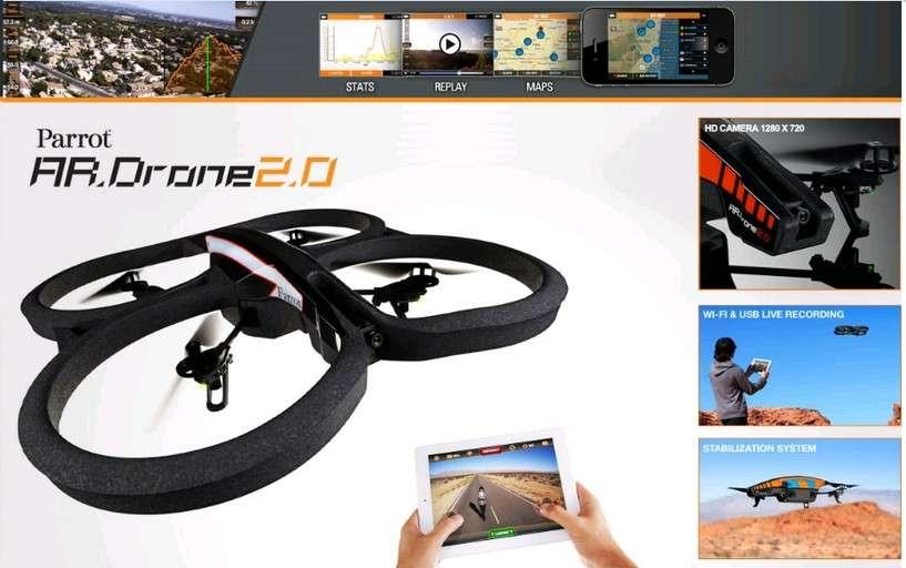Parrot est l'un des principaux vendeurs de drones destinés à un usage grand public. Ces appareils se pilotent avec un smartphone ou une tablette auxquels ils se connectent en Wi-Fi. La méthode de piratage publiée par Samy Kamkar vise à pointer la vulnérabilité de ce type de connexion. © Parrot