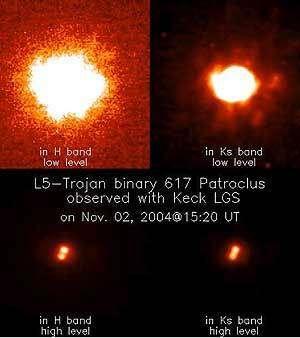 Images du couple 617 Patroclus et S/2001(617)1 Ménœtius prise au télescope de l'Observatoire Keck à Hawaï équipé du système LGS. Le plus gros des deux corps Patroclus (et le plus brillant des deux) se trouve en haut à droite sur les images