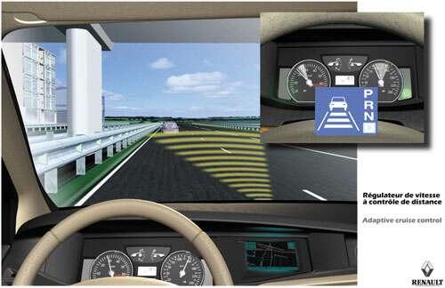 La tendance forte de l'évolution de l'automobile est l'assistance à la conduite, pour aider le conducteur, voire le remplacer. © Renault