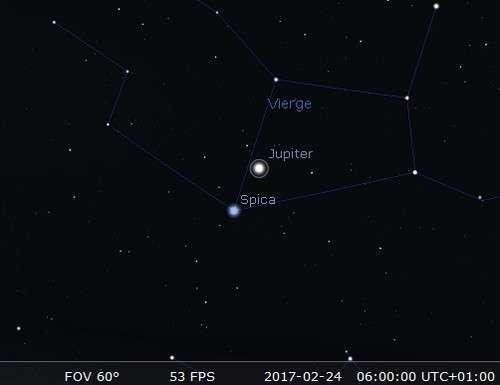 Jupiter en rapprochement avec Spica