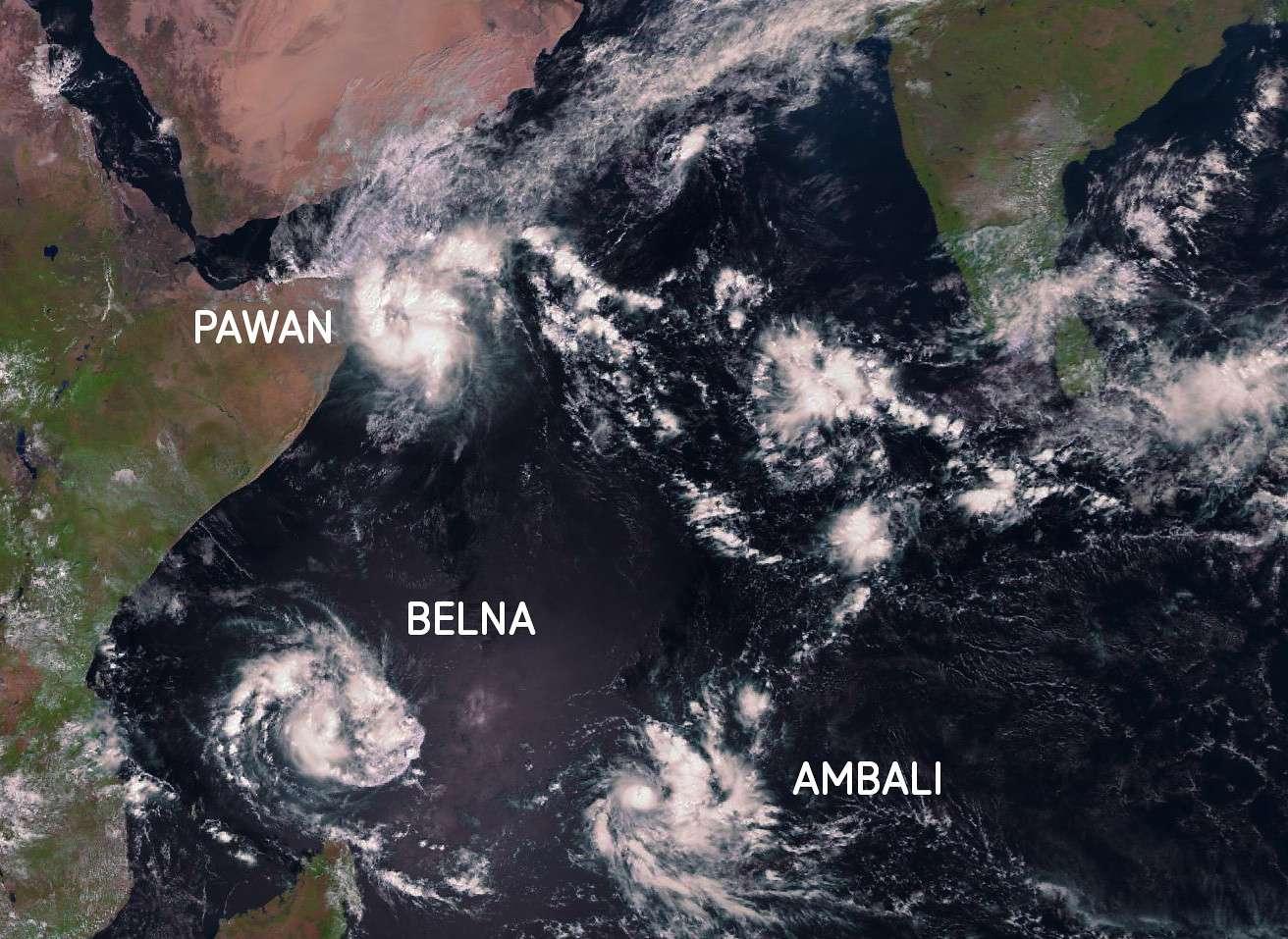 Les cyclones Pawan, Ambali et Belna photographiés par Meteosat-8 le 6 décembre 2019 à 7 h 00 TU. © Eumetsat, Météo France