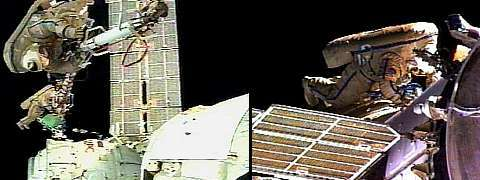 Images de la sortie des astronautes, retransmises en direct par Nasa-TV. Source: Nasa