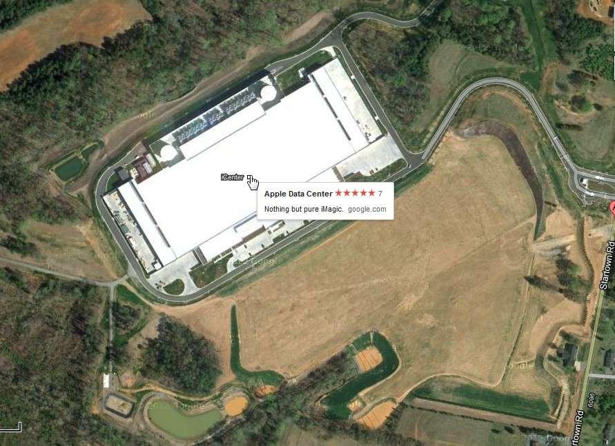 Vue aérienne du datacenter d'Apple à Maiden en Caroline du Nord. © Google Maps
