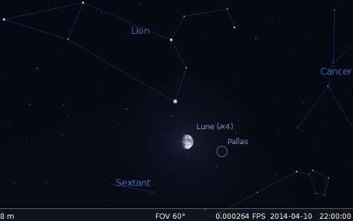 La lune en rapprochement avec Pallas et Régulus