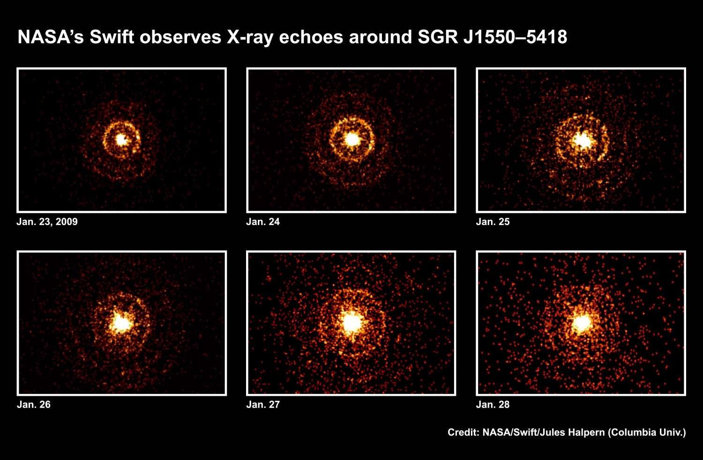 Cette suite d'images prises par Swift sur une période de quelques jours montre la progression de flashes de rayons X provoquant l'illumination de nuages de gaz et de poussières entourant le magnétar SGR J1550-5418. Crédit : Nasa/Swift/Jules Halpern