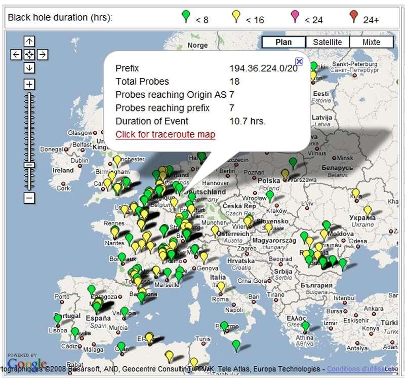 Une carte Google Maps, mise à jour toutes les 15 minutes, localise les endroits où un serveur est resté momentanément indisponible pour une partie de la planète. © U. de Washington/Computer Science & Engineering