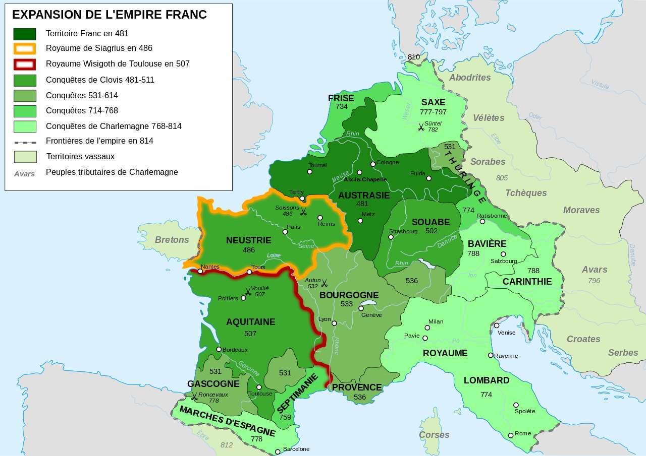 Carte de l'expansion de l'empire franc, entre 481 et 814. Les conquêtes de Charlemagne en repoussent loin les frontières, notamment sur le flanc est. © Sémhur, Wikimedia Commons, cc by sa 3.0
