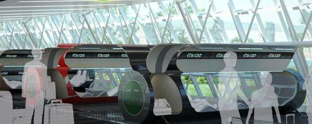 Une illustration d'un quai d'embarquement pour les capsules du train hypersonique. Six personnes par capsule peuvent voyager dans les tubes à vide à une vitesse maximale de 6.500 km/h. On peut ainsi se rendre de New York à Pékin en 2 heures, et faire un voyage autour du monde en à peine 6 heures. © ET3