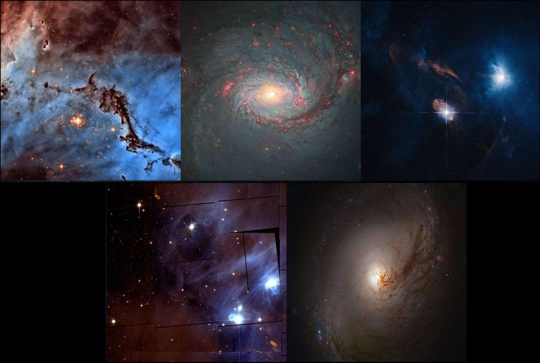 Les cinq images arrivées en tête du concours proposé par l'Esa pour dénicher et traiter des clichés inconnus pris par le télescope Hubble. De gauche à droite et de haut en bas : NGC 1763 (© Nasa, Esa, Josh Lake), Messier 77 (© Nasa, Esa, Andre van der Hoeven), XZ Tauri (© Nasa, Esa, Judy Schmidt), Chamaeleon I (© Nasa, Esa, Renaud Houdinet), Messier 96 (© Nasa, Esa, Robert Gendler).