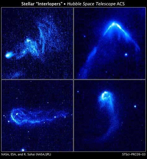 Quatre des 14 étoiles fuyantes photographiées par Hubble. Crédit Nasa/Hubble/JPL