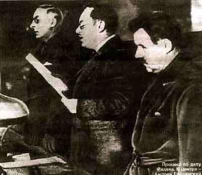 La lecture d'un acte d'accusation en 1937, lors des procès de Moscou. Au total, un tiers des officiers de l'Armée rouge ont été arrêtés ou fusillés. © Wikimedia Commons, DP