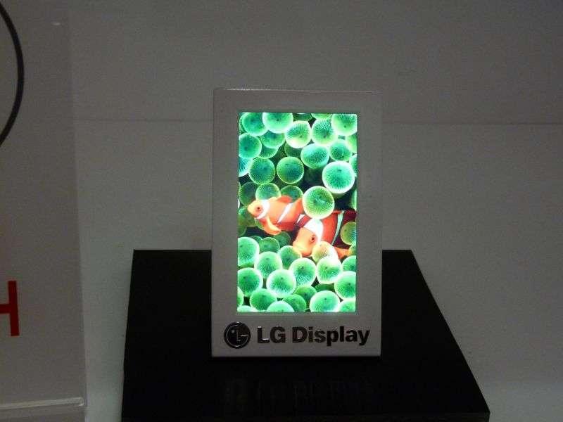 Au SID 2010, LG Display avait présenté cet écran à cristaux liquides classiques mais rétroéclairé par une surface garnie de boîtes quantiques. © Nikkei Business Publications