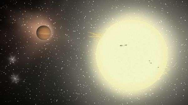 Vue d'artiste de TrES-4 autour de son étoile hôte. Crédit : TReS.