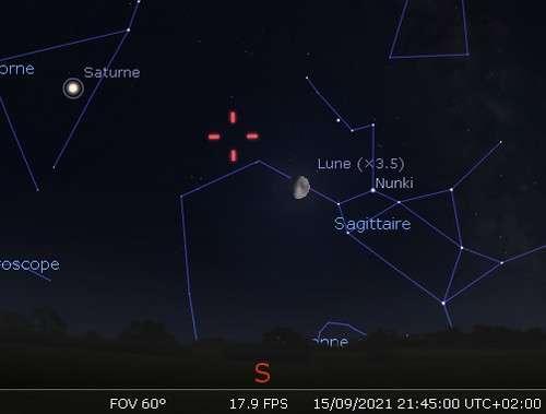 La Lune en rapprochement avec Nunki et Pluton