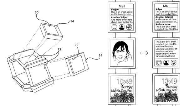 Sur les illustrations d'un brevet de Nokia, les petits écrans qui entourent le bracelet sont amovibles. Il est possible d'étendre l'affichage d'un écran sur l'autre par un simple glissement de doigt. Plutôt qu'un système d'exploitation mobile reposant sur Android, on peut remarquer que l'écran d'accueil, en bas, ressemble à celui de Windows Phone. Ce n'est pas étonnant, étant donné les liens privilégiés qu'entretenaient déjà les deux sociétés avant que Microsoft ne rachète la division mobile de Nokia. © Nokia, USPTO