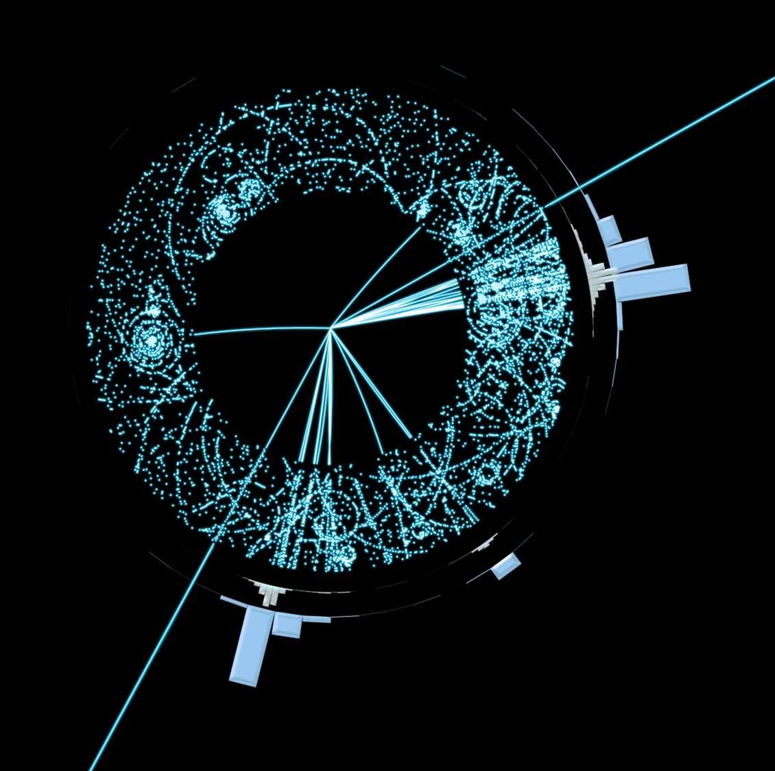 Un simulation de la détection de la production de particules supersymétriques vue par le détecteur Atlas. © 2011 Cern