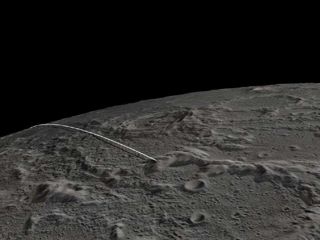 Une image extraite de l'animation du JPL montrant la fin de la trajectoire des deux sondes Grail. © Nasa/JPL-Caltech/GSFC/ASU