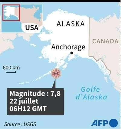 La localisation de l'épicentre du tremblement de terre au large des îles Aléoutiennes. © AFP, USGS
