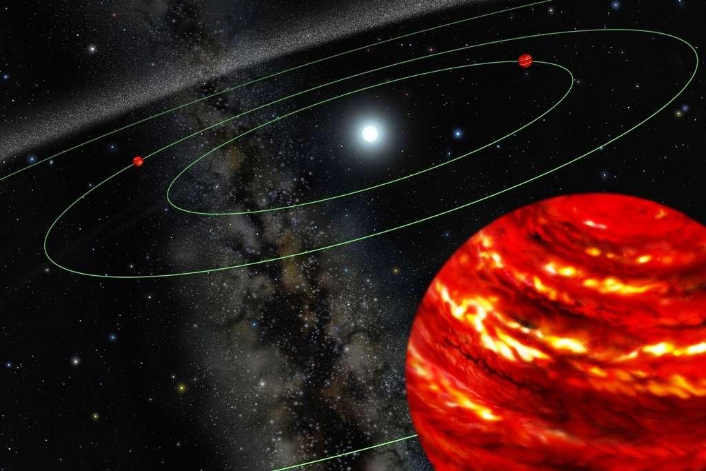 Les exoplanètes en orbite autour de l'étoile HR 8799, située à environ 128 années-lumière de la Terre dans la constellation de Pégase, avaient été imagées directement par Christian Marois et ses collègues en 2008. Les astronomes avaient utilisé des instruments équipant le mythique télescope Keck II au sommet du Mauna Kea, à Hawaï. © Lynette Cook