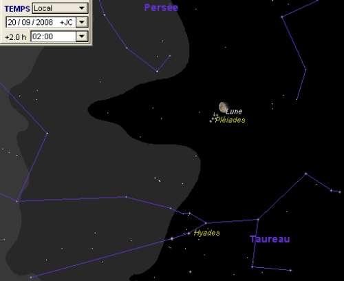 La Lune est en rapprochement avec les Pléiades, et en occulte une partie