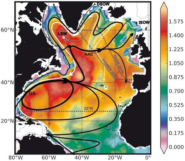 L'absorption du dioxyde de carbone en Atlantique nord. Basé sur plusieurs campagnes hydrographiques (les tirets bleus), ce schéma met en évidence la relation entre les courants océaniques (lignes blanches et noires) et le taux d'accumulation moyen du CO2 anthropique, en moles d'atomes de carbone par m2 de surface océanique et par an (les zones colorées). Les flèches noires indiquent les courants de surface : le Gulf Stream (GS) et le courant nord-atlantique (NAC). Les flèches grises montrent les courants intermédiaires, c'est l'eau du Labrador (LSW, Labrador Sea Water) et les blanches dessinent les courants profonds : DSOW (Denmark Strait Overflow Water) et ISOW (Iceland-Scotland Overflow Water), c'est-à-dire les eaux profondes coulant vers le sud entre le Groenland et l'Écosse. © INSU, CNRS