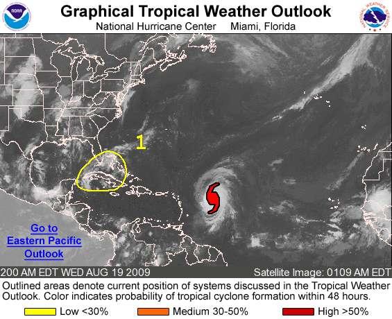 Sur cette carte, les risques d'apparition d'un cyclone sont marqués par des couleurs. On voit que l'ouragan Bill (en rouge) a plus de 50% de chances de devenir un cyclone dans les 48 heures. Crédit : NOAA.