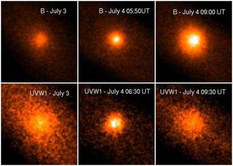 Ces images ont été acquises par le XMM-Newton de l'ESA avant et après l'impact. Les images du haut ont été acquises avec filtre bleu, celles du bas sont du domaine ultraviolet. Les images ultraviolettes mettent en évidence la présence d'ions OH (hydroxyle