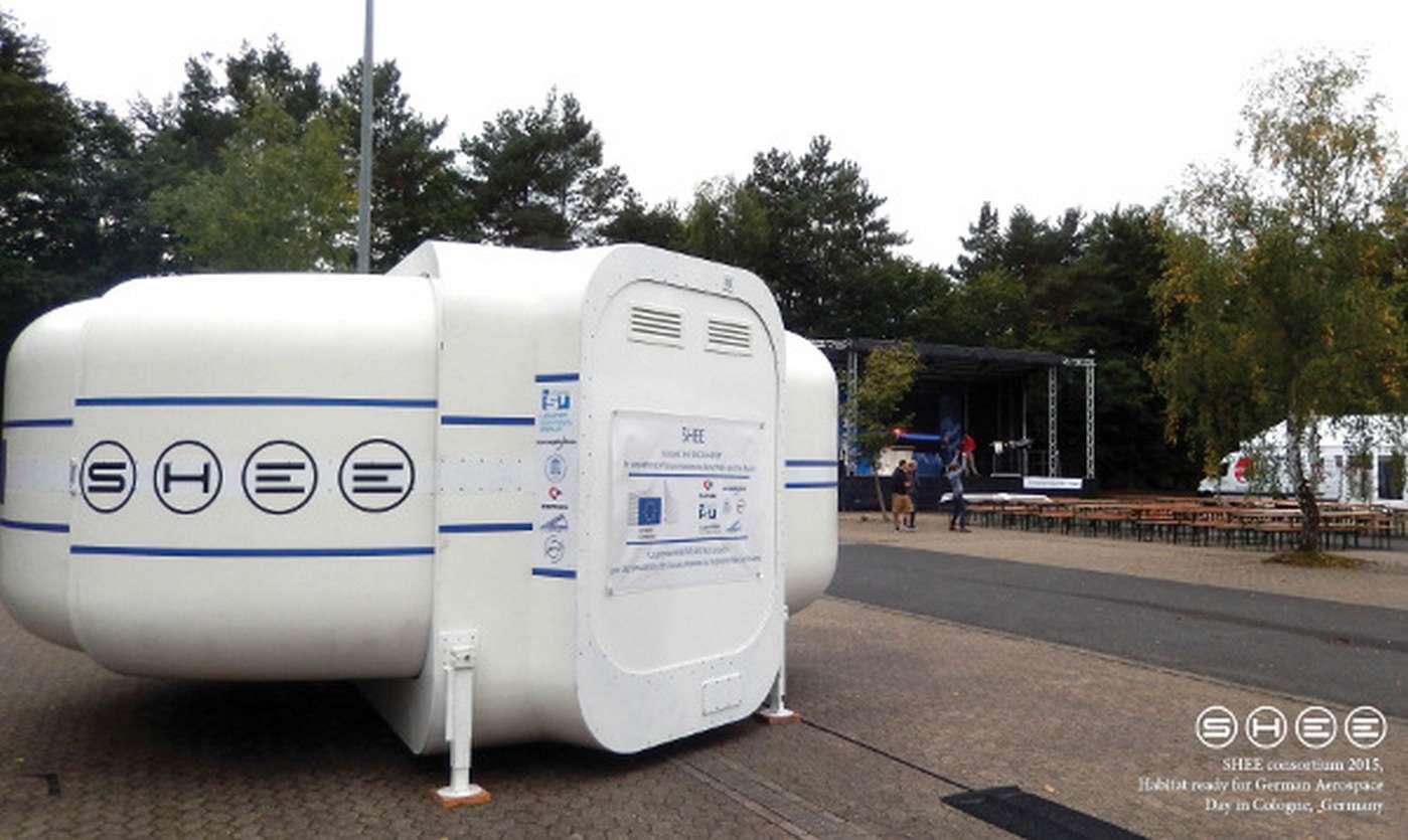 Le SHEE (Self-deployable Habitat for Extreme Environments) a été conçu par un consortium européen dans lequel figure notamment la société française Comex. © SHEE consortium