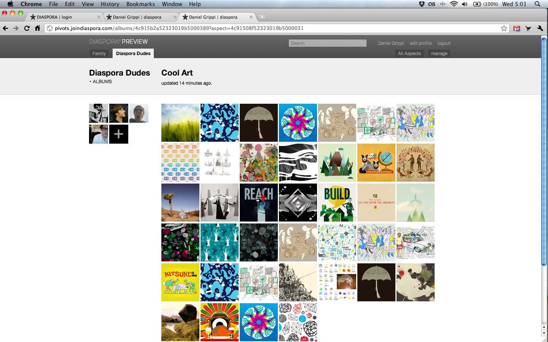 Un album d'images sur le futur Diaspora (capture fournie par l'équipe des développeurs). © Joindiaspora.com