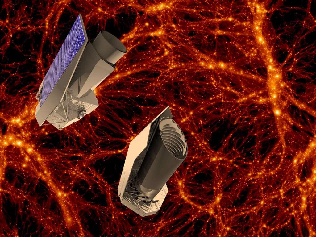 La nature de l'énergie noire pourrait se dévoiler au futur télescope spatial Euclid, dont le programme vient d'obtenir le feu vert l'Esa. L'industriel qui construira ce satellite n'a pas encore été choisi. On voit ici deux concepts pour le satellite Euclid. © Esa