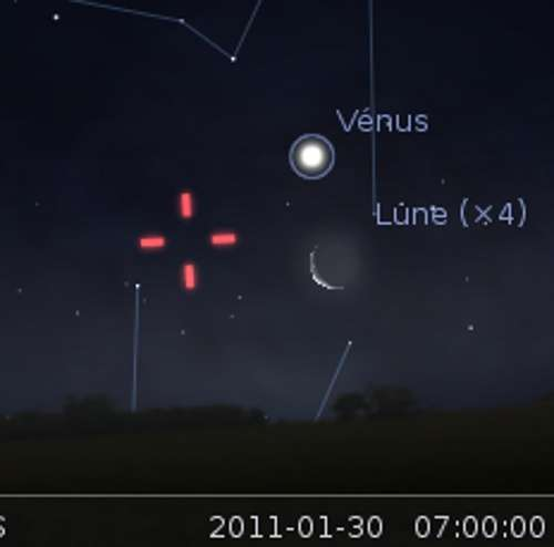 La Lune en rapprochement avec Vénus et la planète naine Vesta. © DR