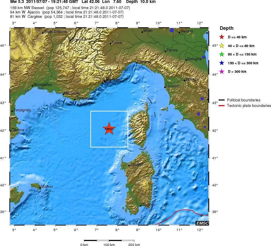 Le séisme du jeudi 7 juillet, à 19 h 21 TU, à 94 kilomètres à l'ouest d'Ajaccio. Magnitude : 5,3. Profondeur : 10 kilomètres. © CSEM