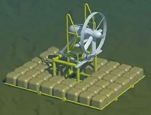 La Sabella D03 (image de synthèse), posée au fond, retenue par des sacs de sable. © Hydrohelix Energies