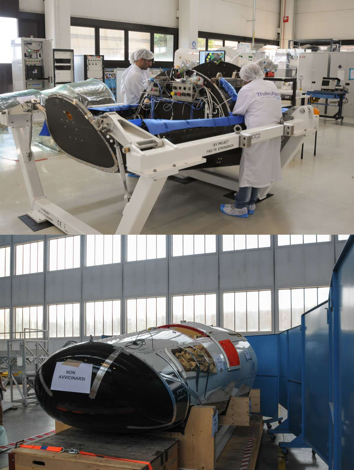 Après le succès de son amerrissage, la maquette de l'IXV est retournée dans l'usine turinoise de Thales Alenia Space. Utilisé pour vérifier les systèmes de descente et de récupération envisagés pour l'IXV, l'essai de cette maquette a été un succès. © Rémy Decourt, Futura-Sciences