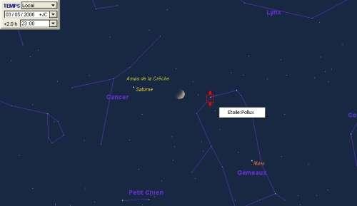 La lune est encadré par la planète Saturne et l'étoile Pollux