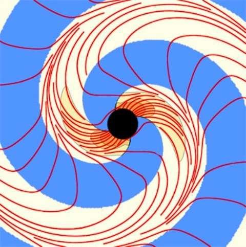 Lorsque deux trous noirs spiralent l'un vers l'autre en émettant des ondes gravitationnelles, les lignes de vorticité de l'espace-temps forment elles-mêmes des spirales s'éloignant du trou noir final créé par la fusion des deux trous noirs initiaux. © The Caltech/Cornell SXS Collaboration