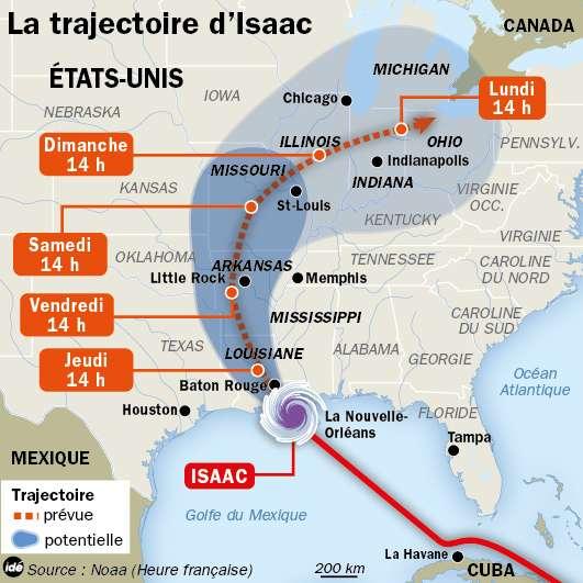 Trajectoire que devrait suivre la tempête tropicale Isaac durant les prochains jours (selon des prévisions de la Noaa et du NHC). © Idé