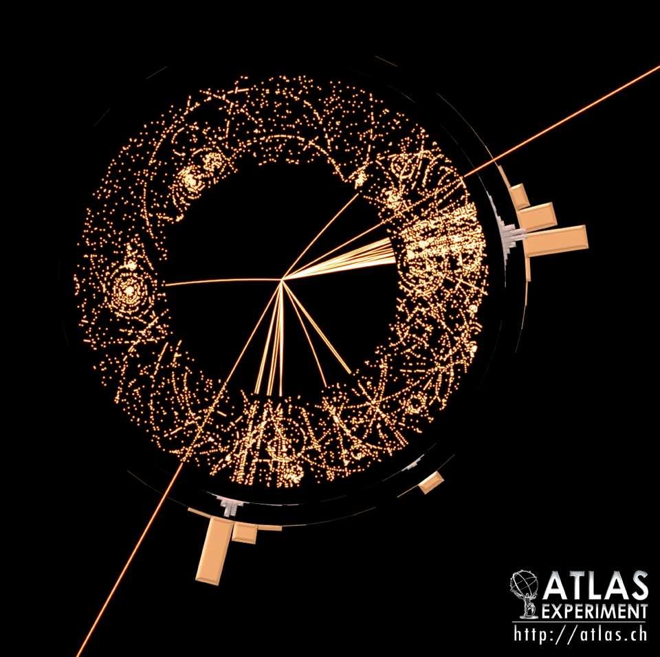 Une simulation de la production de particules supersymétriques vue par le détecteur Atlas du LHC. Crédit : Cern