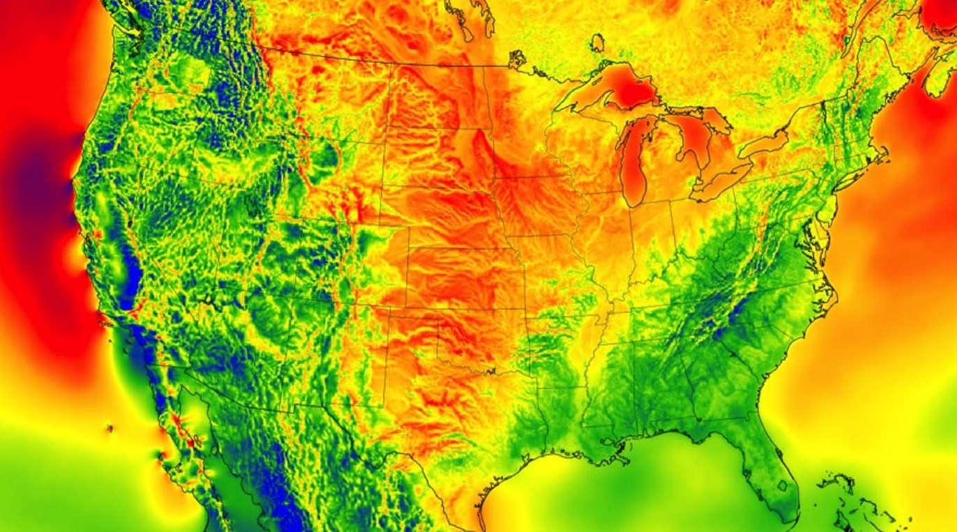 D'après des chercheurs de la National Oceanic and Atmospheric Administration (NOAA), cette carte représente le potentiel de production d'électricité éolienne aux États-Unis. Les régions où ce potentiel est le plus élevé sont en rouge, celles où il est le plus bas sont en bleu. © Chris Clack, CIRES