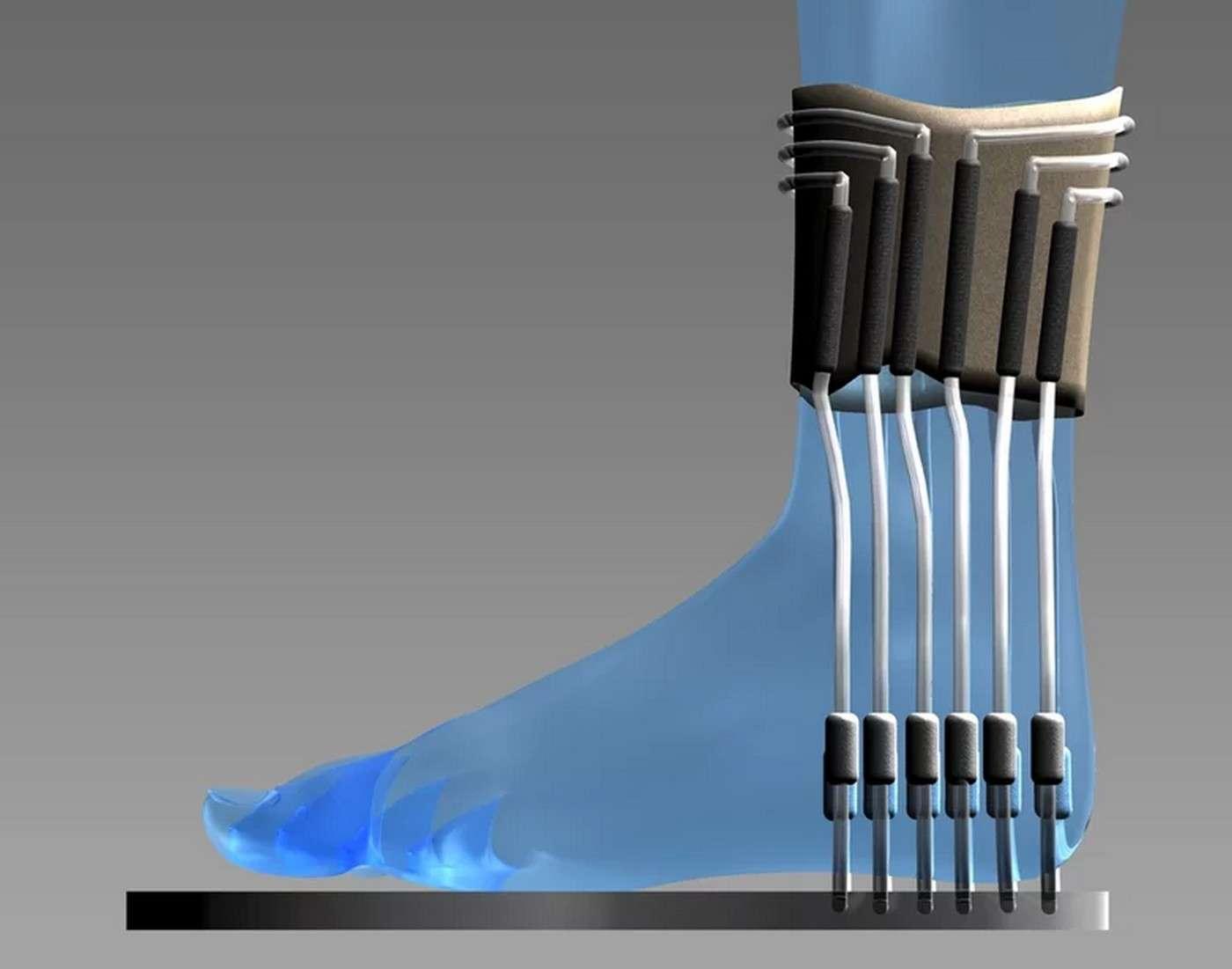 Une représentation simulée de la chaussette à pile microbienne utilisant l'urine pour produire de l'électricité. Le prototype fonctionnel est beaucoup moins ergonomique (voir photo ci-dessous)… © Université de l'Ouest de l'Angleterre