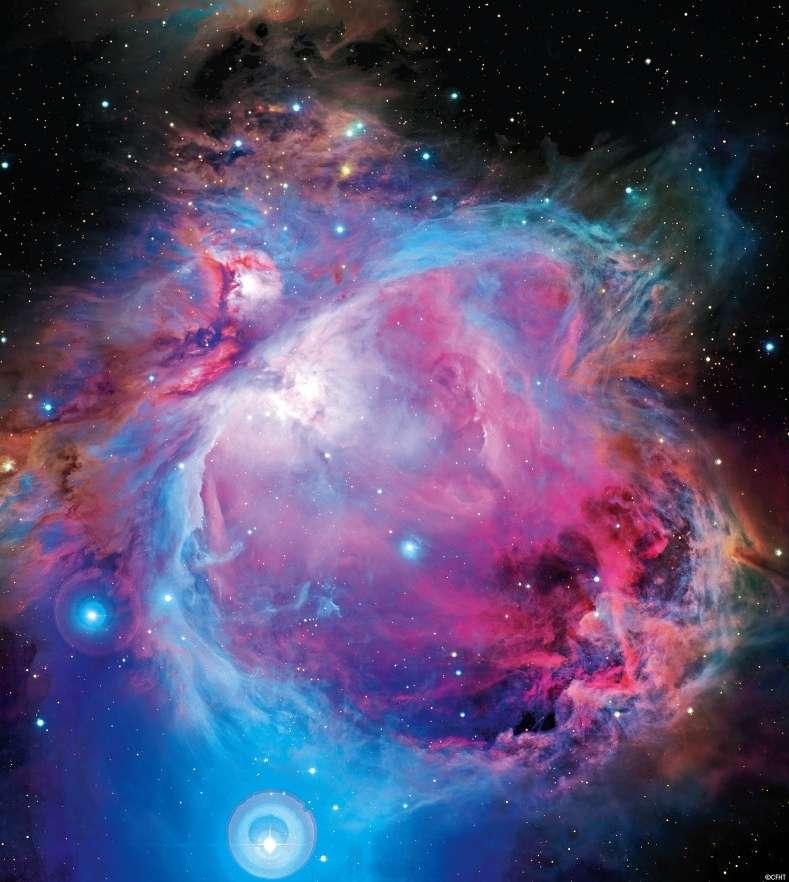 Messier 42, la plus belle nébuleuse du ciel, n'est qu'une petite partie (visible) d'un immense nuage moléculaire qui occupe la constellation d'Orion. Située à 1.300 années-lumière, elle est la pouponnière d'étoiles la plus proche et de nombreuses études lui sont consacrées. Elles permettent de faire régulièrement de nouvelles découvertes. © CFTH, Coelum, J.-C. Cuillandre, G. Anselmi