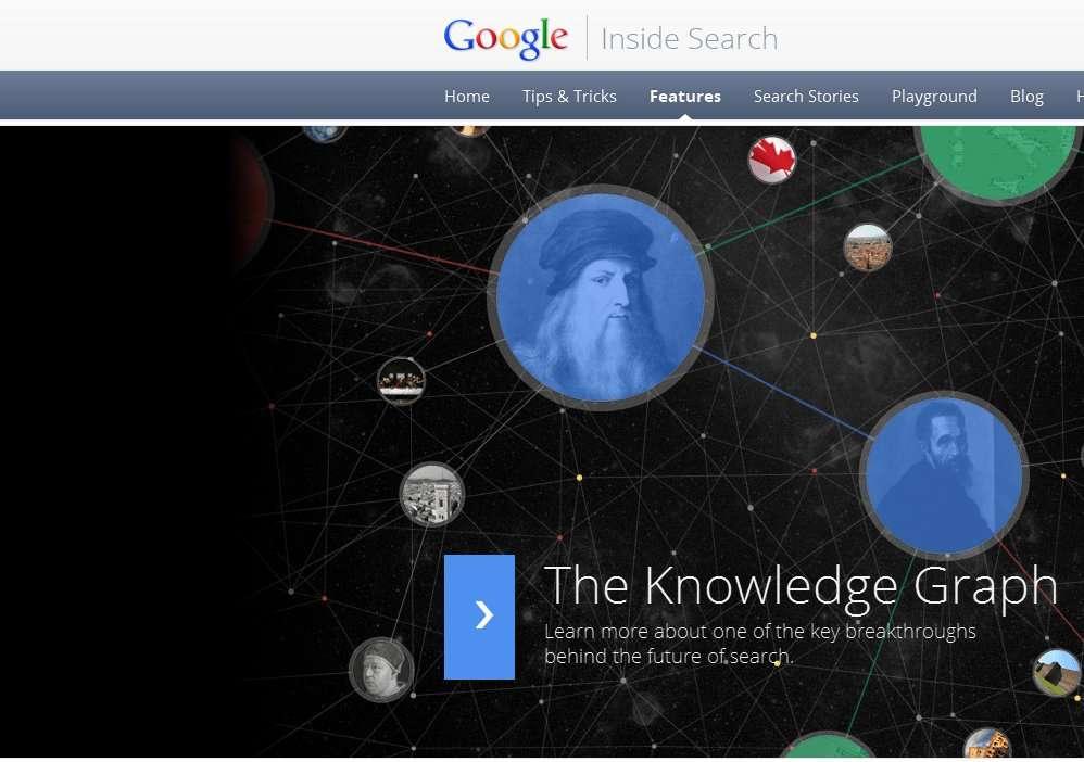 Les explications de Google (en anglais) sur le fonctionnement de Knowledge Graph : en tapant « da vinci » (de Vinci), on obtient des informations sur Léonard et la Joconde mais aussi sur l'Italie et Michel-Ange. © Google