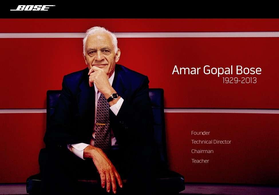 Amar Gopal Bose a fondé son entreprise en 1964 dans la banlieue de Boston. Brillant ingénieur, il enseigna pendant plus de 40 au Massachusetts Institute of Technology, auquel il a légué la majorité des actions de son entreprise. © Bose