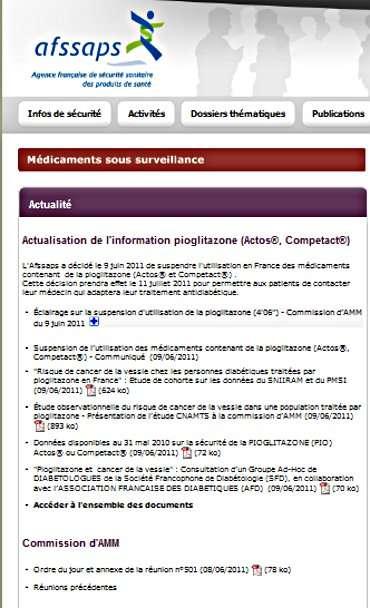 Sur son site Internet, l'Afssaps prévient de l'interdiction d'utilisation de la pioglitazone. © Afssaps